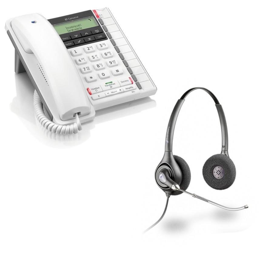 6c12ae77a431 ... BT Converse 2300 Corded Telephone - White and Plantronics HW261  Supraplus Wideband Binaural Office Headset - A Grade (36830-41) Bundle ...
