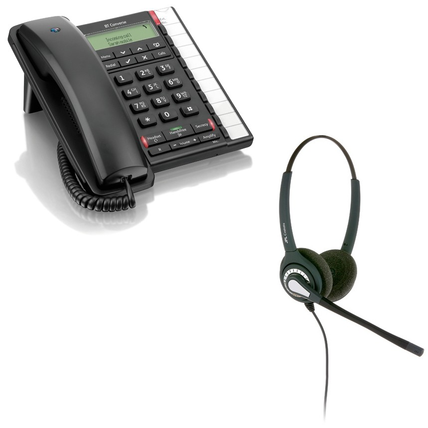 BT Converse 2300 Corded Telephone - Black and JPL 402 Binaural Noise Cancelling Office Headset (JPL 402-P) Bundle