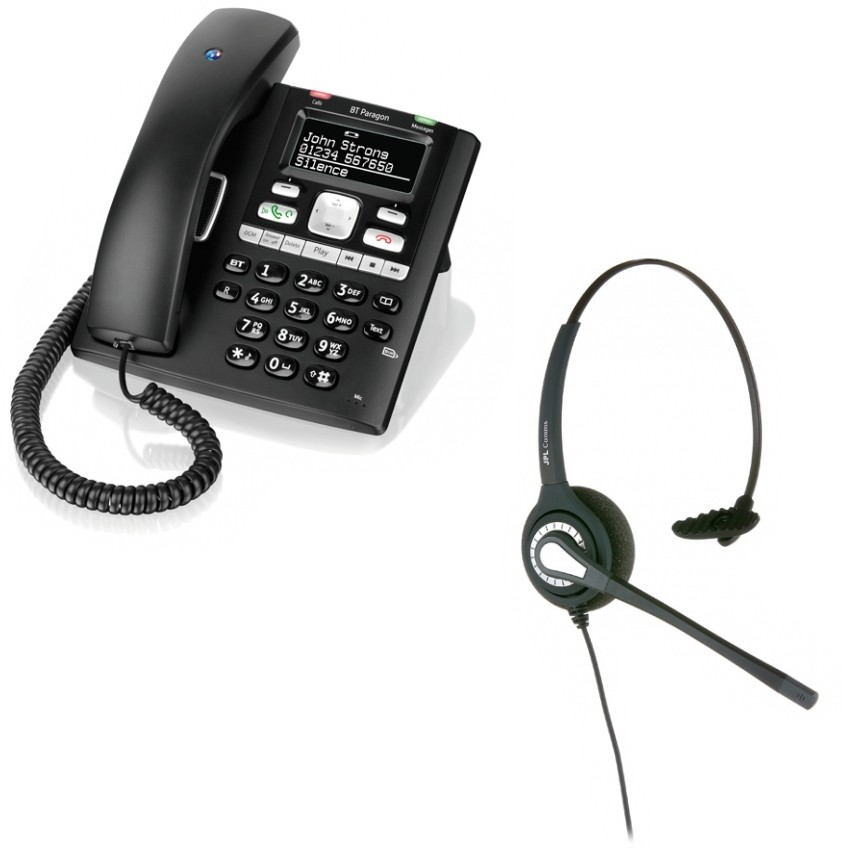 BT Paragon 650 Corded Telephone With Answering Machine and JPL 401 Monaural Noise Cancelling Office Headset (JPL 401-P)
