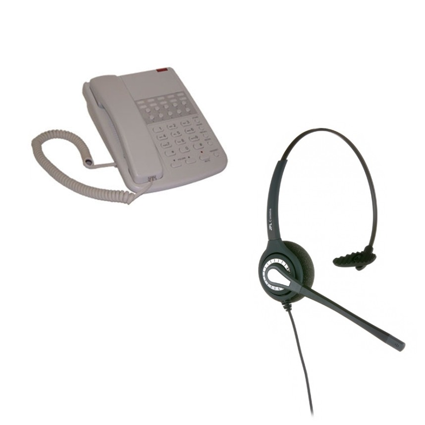 Orchid DBT2000 Business Phone - Light Grey and JPL 401 Monaural Noise Cancelling Office Headset (JPL 401-P) Bundle
