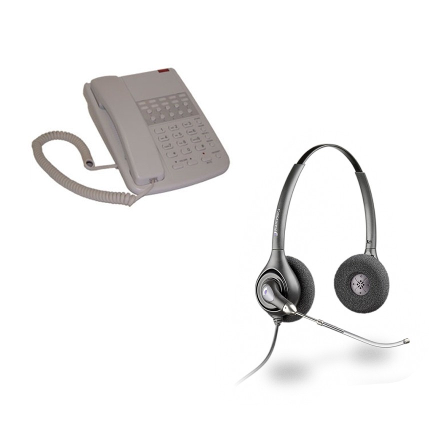 Orchid DBT2000 Business Phone - Light Grey and Plantronics HW261 Supraplus Wideband Binaural Office Headset - A Grade (36830-41) Bundle