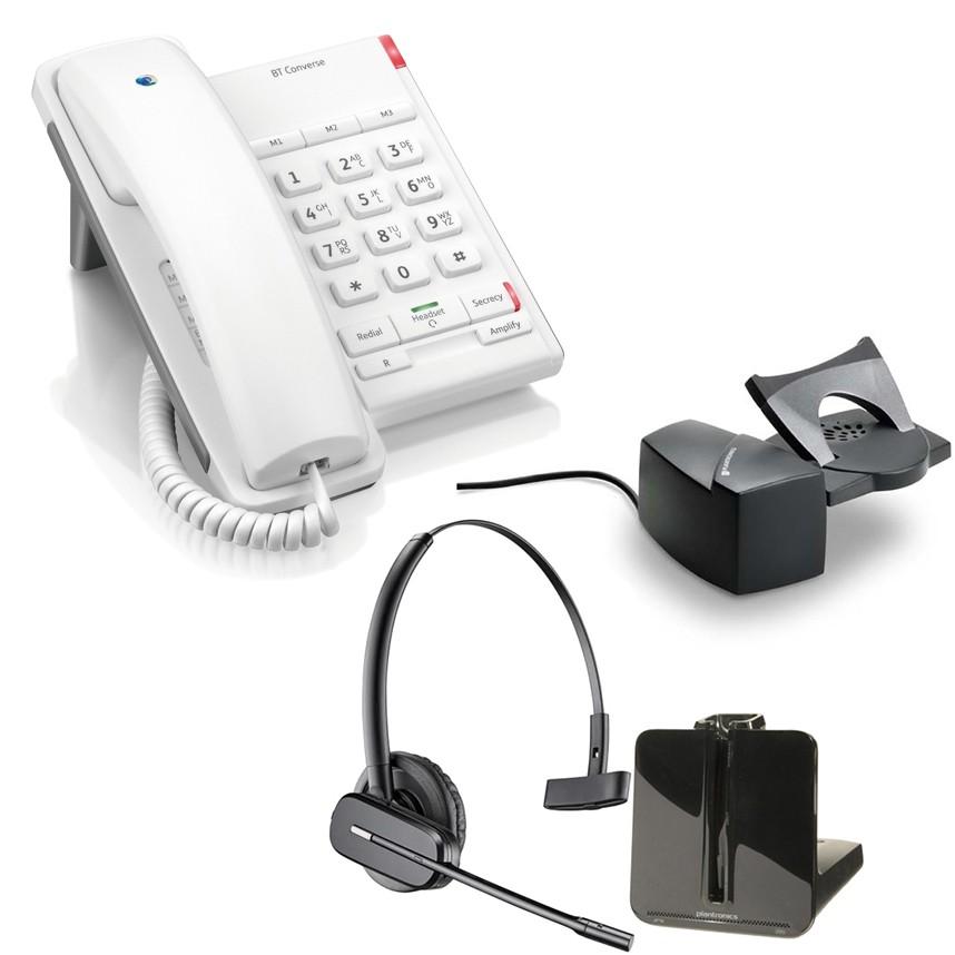 BT Converse 2100 - White and Plantronics CS540 Convertible DECT Cordless Headset - A Grade (84693-02) and Plantronics Savi HL10 - Straight Plug Version (60961-35) Bundle