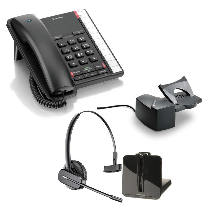 BT Converse 2200 - Black and Plantronics CS540 Convertible DECT Cordless Headset - A Grade (84693-02) and Plantronics Savi HL10 - Straight Plug Version (60961-35) Bundle
