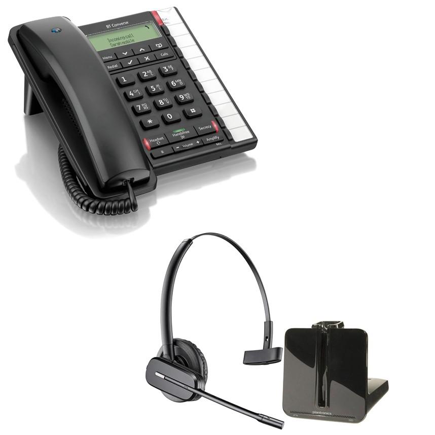 BT Converse 2300 - Black and Plantronics CS540 Convertible DECT Cordless Headset - A Grade (84693-02) Bundle
