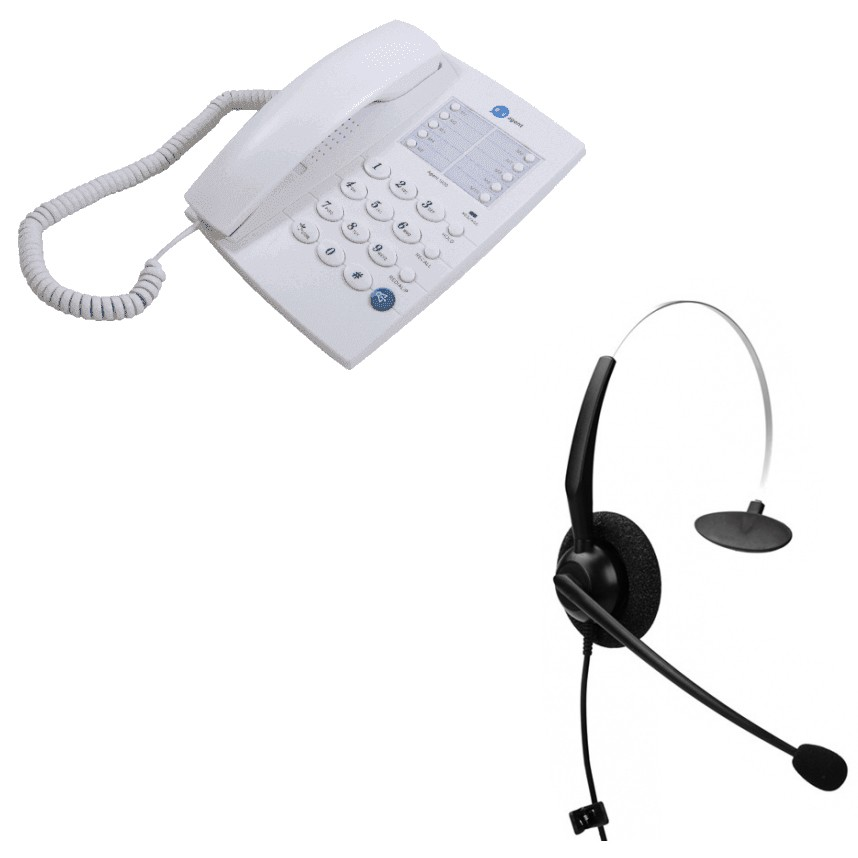 Agent 1000 Corded Telephone - White and  JPL 100 Monaural Noise Cancelling Office Headset (JPL100M) Bundle