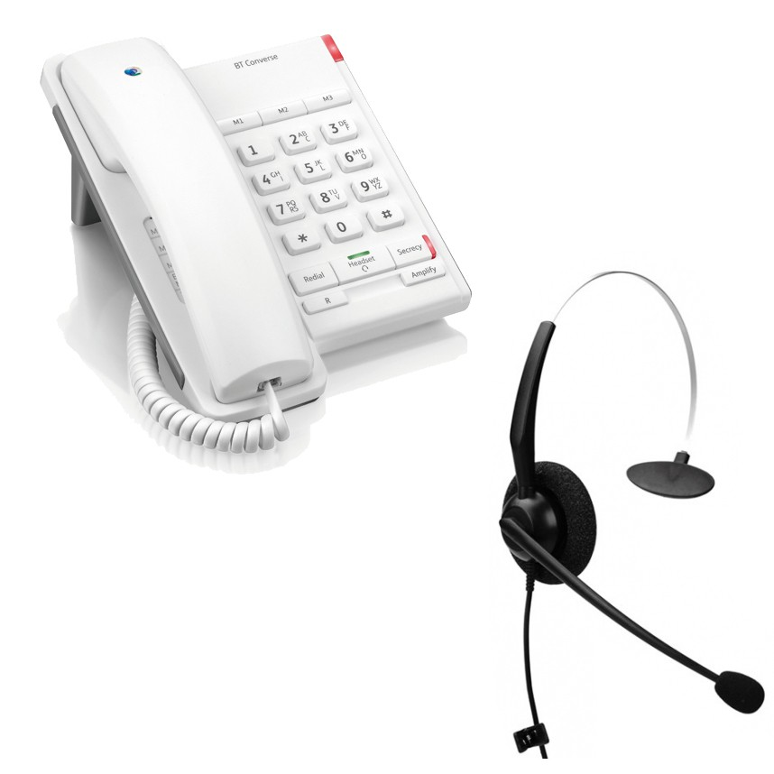 BT Converse 2100 - White and JPL 100 Monaural Noise Cancelling Office Headset (JPL100M) Bundle