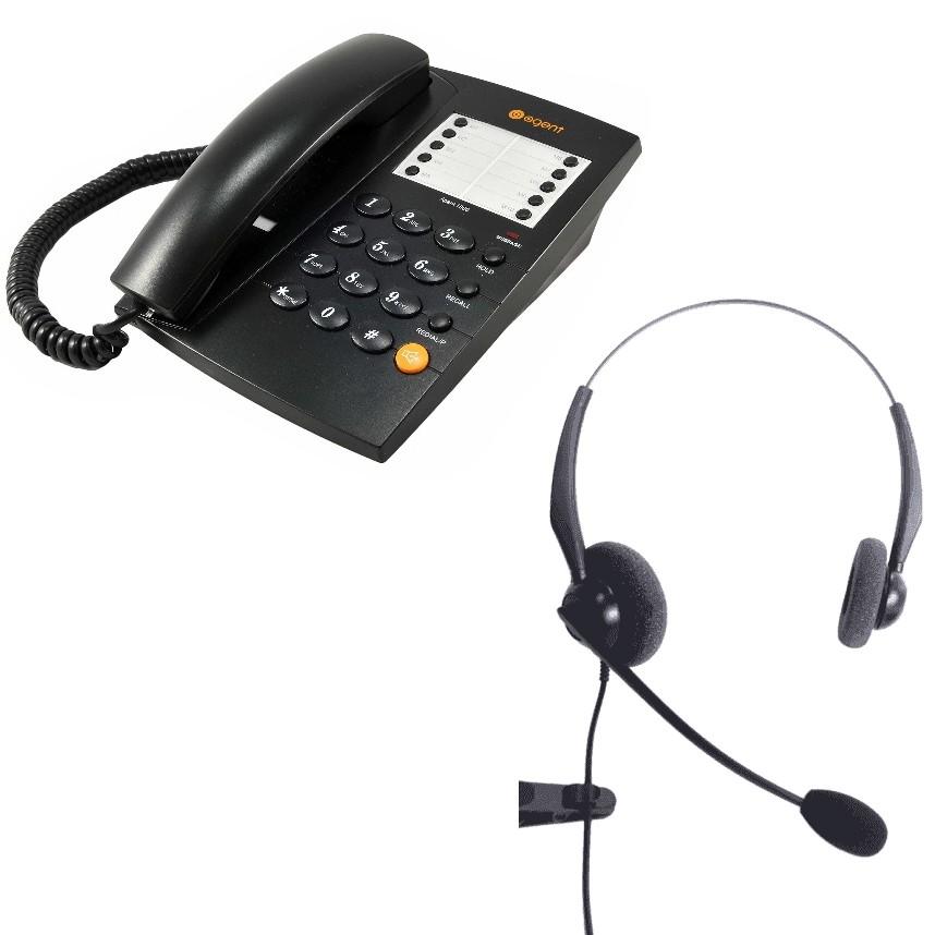 Agent 1000 Corded Telephone - Black and JPL 100 Binaural Noise Cancelling Office Headset (JPL100B) Bundle