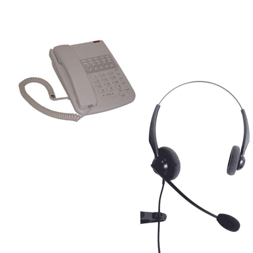 Orchid DBT2000 Business Phone - Light Grey and JPL 100 Binaural Noise Cancelling Office Headset (JPL100B) Bundle