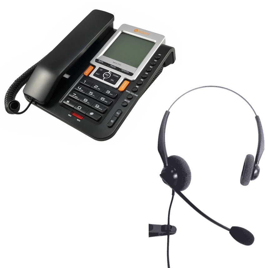Agent 1100 Corded Telephone and JPL 100 Binaural Noise Cancelling Office Headset (JPL100B) Bundle