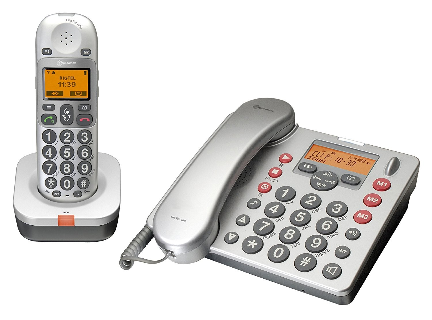 Amplicomms BigTel 480 Amplified DECT Corded Telephone & Answering Machine With A Cordless Handset