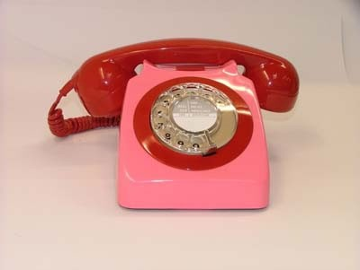Original GPO 746 Rotary Dial 1970's Telephone - Blush Pink & Red