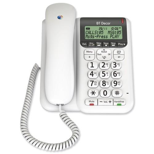 BT Decor 2500 Corded telephone & Answering Machine - White