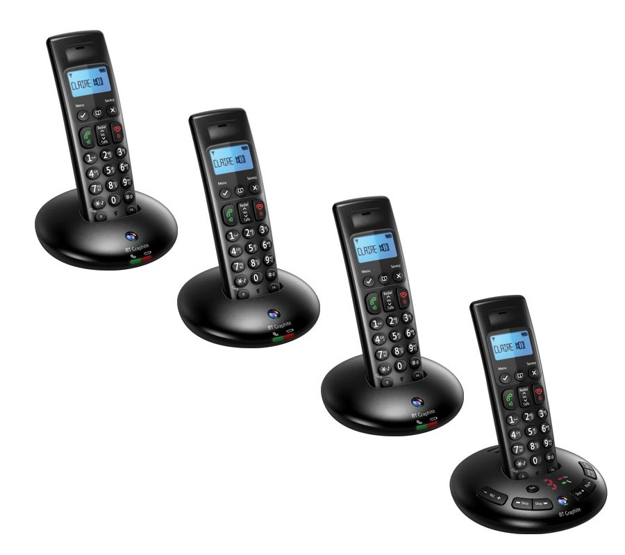 BT Graphite 2500 DECT Cordless Phones With Answering Machine - Quad Pack