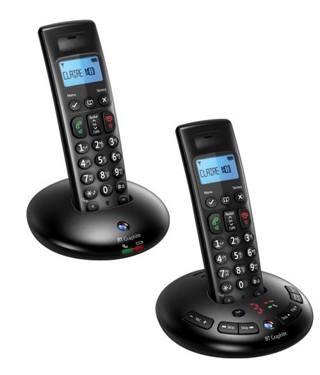 BT Graphite 2500 DECT Cordless Phones With Answering Machine - Twin Pack