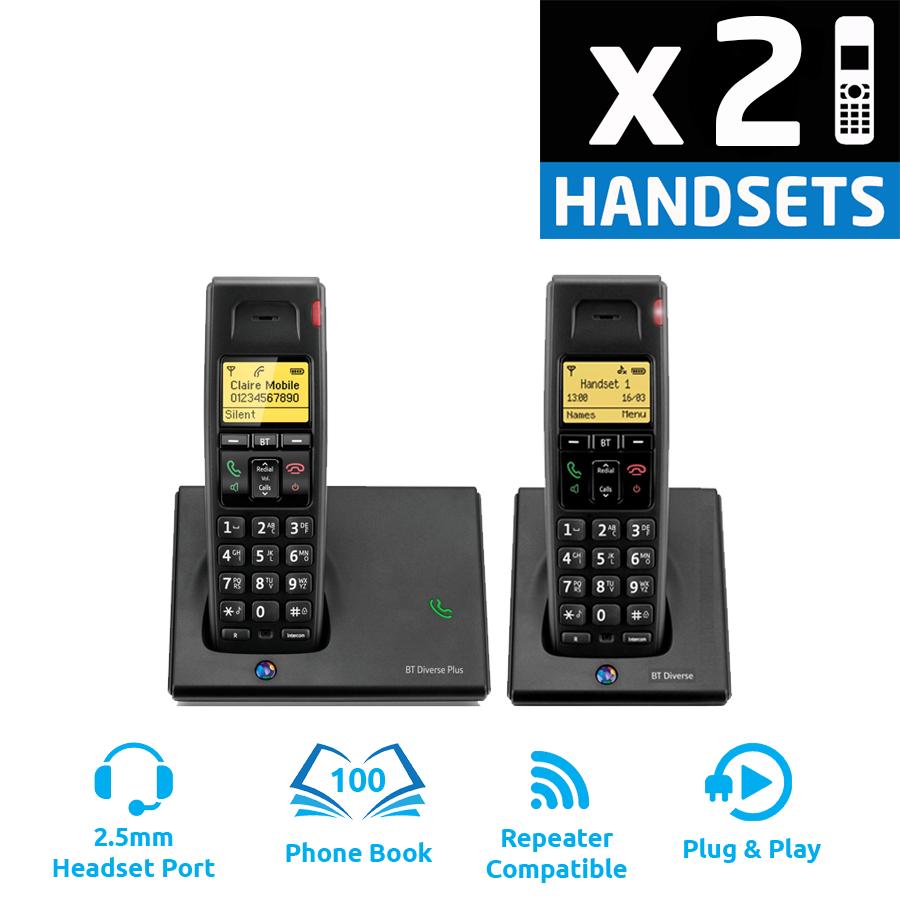 BT Diverse 7110 Plus DECT Cordless Phone - Twin Pack