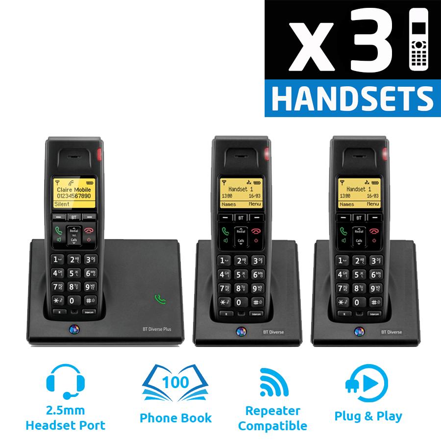 BT Diverse 7110 Plus DECT Cordless Phone - Triple Pack