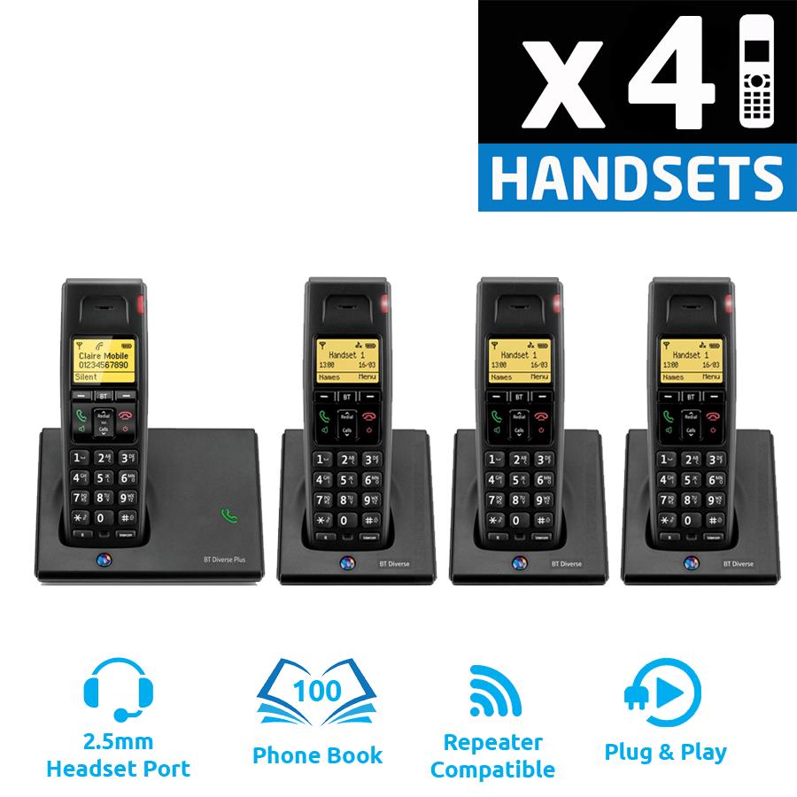 BT Diverse 7110 Plus DECT Cordless Phone - Quad Pack