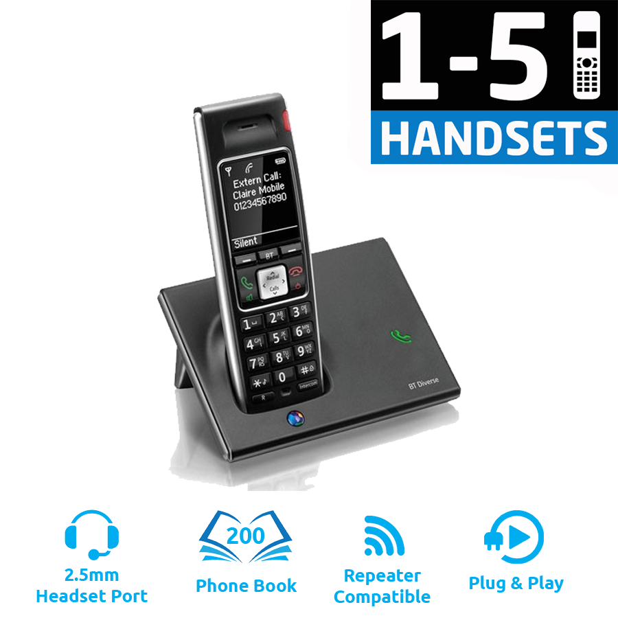 BT Diverse 7410 Plus DECT Cordless Phone - (1-5 Handsets)