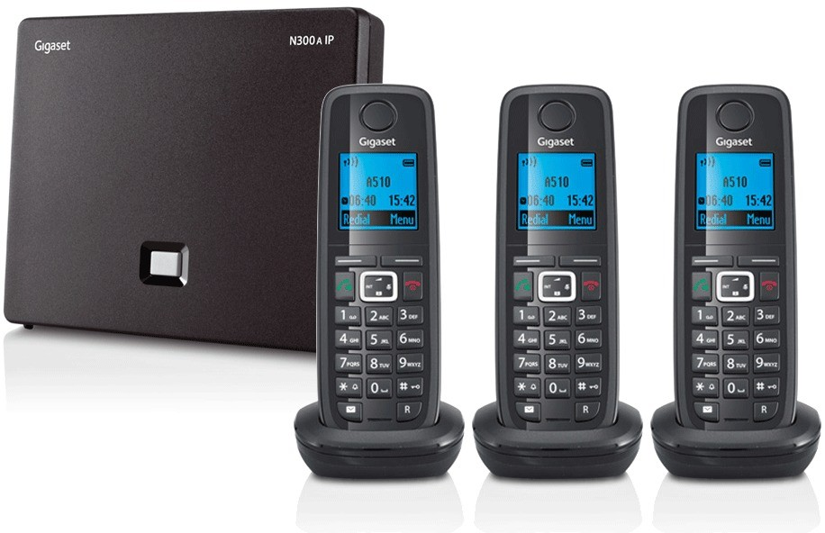 Siemens Gigaset N300A IP DECT Base With Answering Machine And A510H Additional Handset - Triple Pack