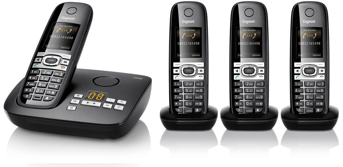 Gigaset C610A Cordless Phone With Answering Machine - Quad Pack