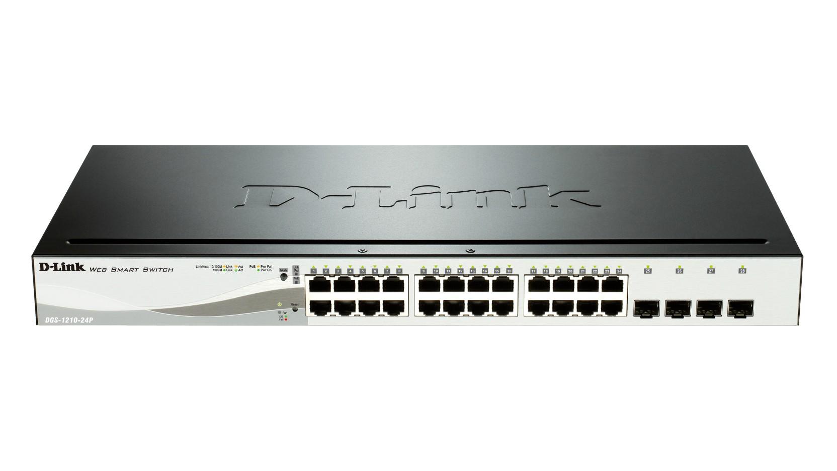 D-Link DGS-1210-24P 24 Port PoE Gigabit Switch with 4 SFP Ports