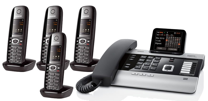 Gigaset DX800A All In One Telephone and Four C610H Additional Handsets