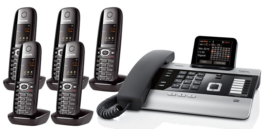 Gigaset DX800A All In One Telephone and Five C610H Additional Handsets