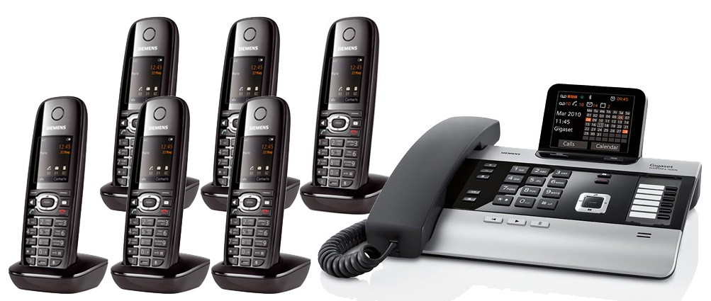 Gigaset DX800A All In One Telephone and Six C610H Additional Handsets