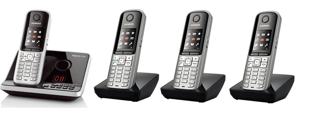 Gigaset S810A DECT Cordless Phone With Answering Machine & Bluetooth - Quad Pack