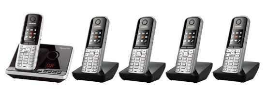 Gigaset S810A DECT Cordless Phone With Answering Machine & Bluetooth - Quint Pack