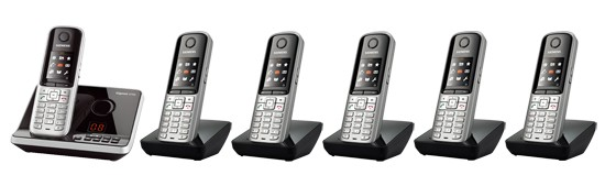 Gigaset S810A DECT Cordless Phone With Answering Machine & Bluetooth - Sextet Pack