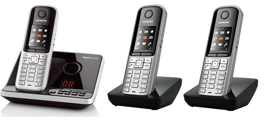 Gigaset S810A DECT Cordless Phone With Answering Machine & Bluetooth - Triple Pack
