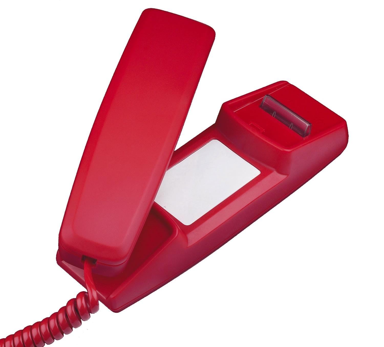 Interquartz 9826NK LED Slimline Hotline Telephone - Red