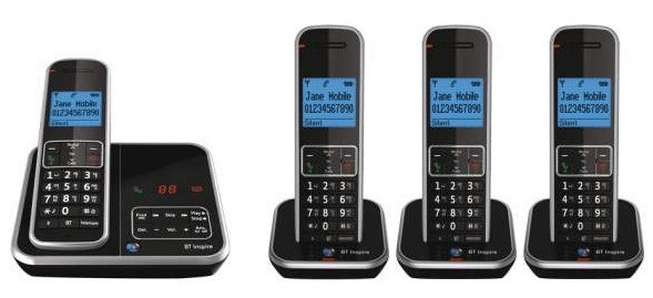 BT Inspire 1500 DECT Cordless Phone With Answering Machine - Quad Pack