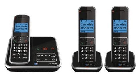 BT Inspire 1500 DECT Cordless Phone With Answering Machine - Triple Pack