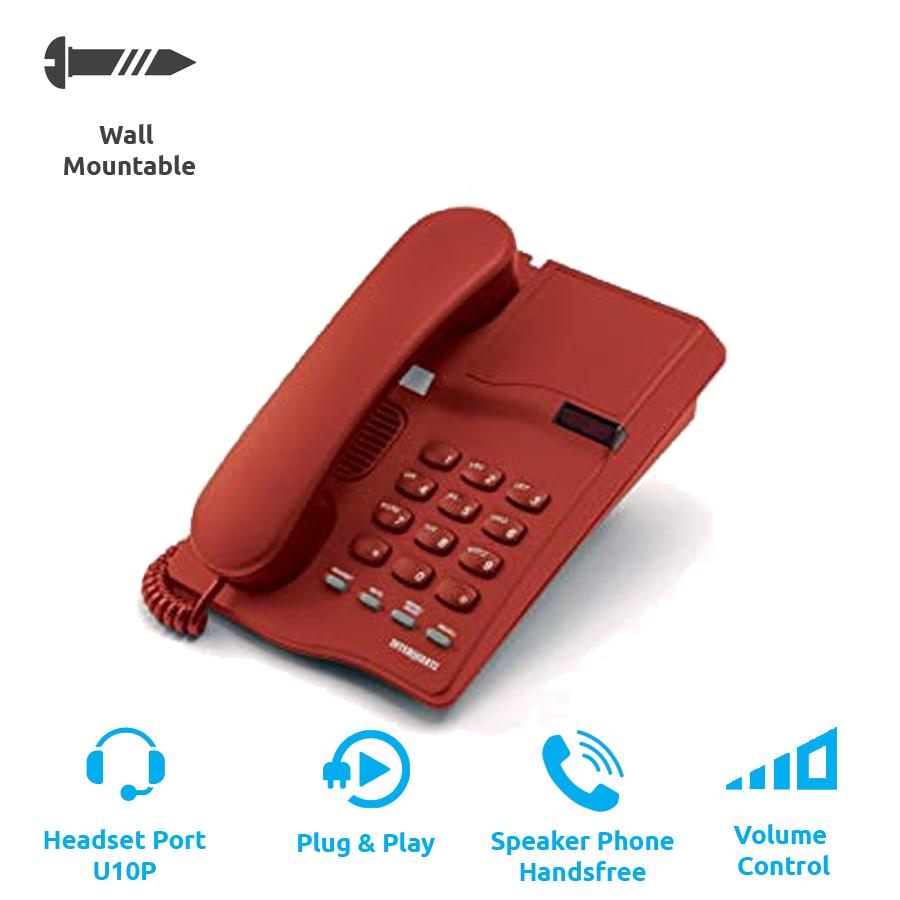 Interquartz Gemini Basic 9330 Business Phone - Red (Corded Phone - Analogue)