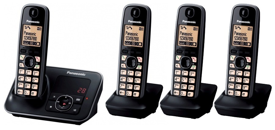Panasonic KX-TG6624EB Quad DECT Cordless Phone With Answering Machine