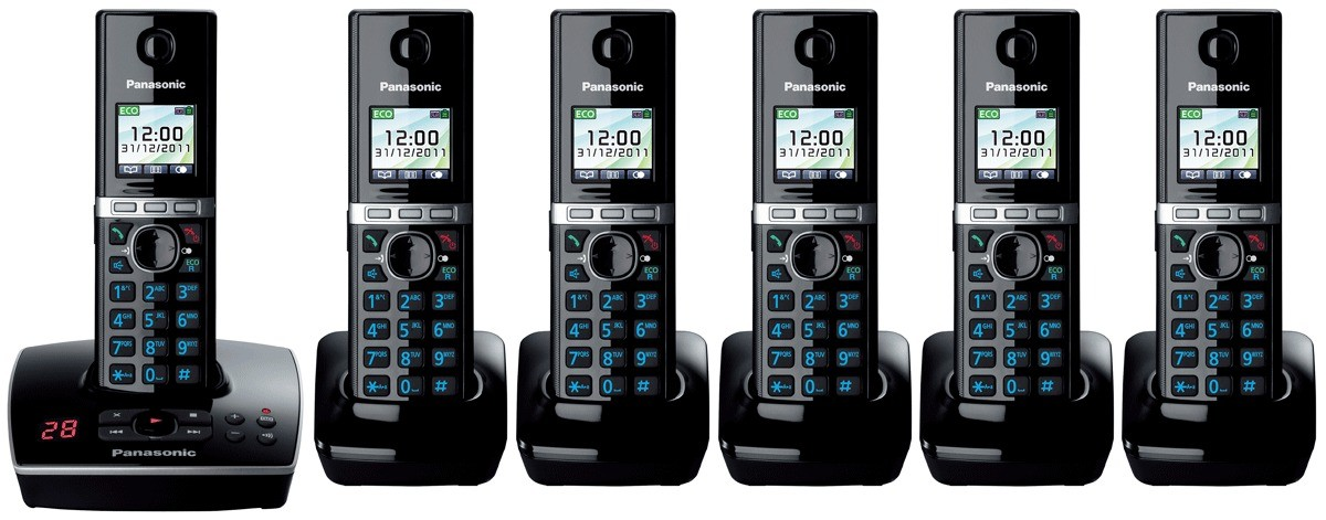 Panasonic KX-TG8066EB DECT Cordless Phone With Answering Machine - Sextet