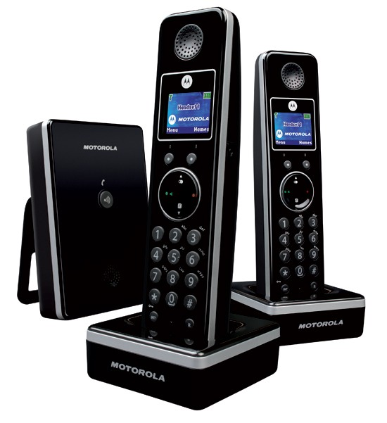 Motorola LIVN D802 DECT Cordless Phone Twin Pack - Black