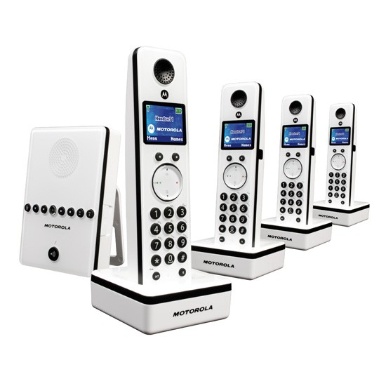 Motorola LIVN D814 DECT Cordless Phone Quad Pack with Answering Machine - White