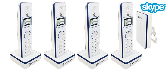 Motorola LIVN D854 Quad Pack Skype enabled Cordless Phones
