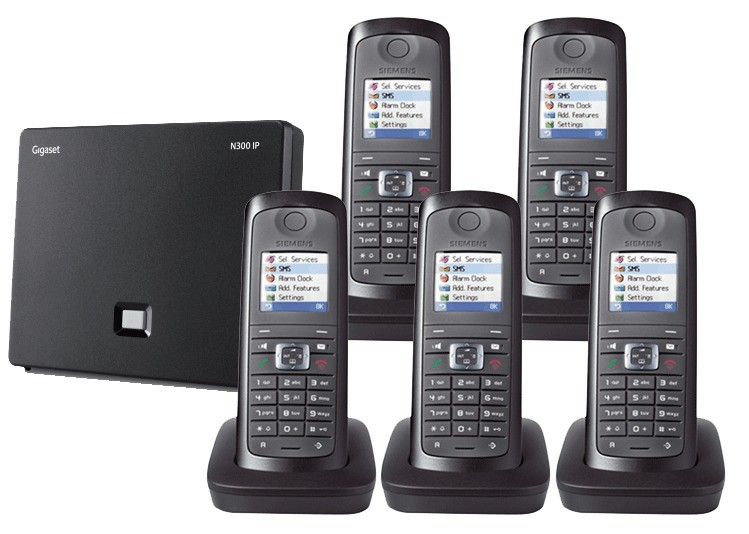 Siemens Gigaset N300IP DECT Base And E49H Additional Handset - Quint Pack