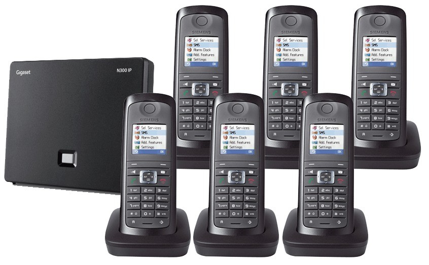 Siemens Gigaset N300IP DECT Base And E49H Additional Handset - Sextet Pack