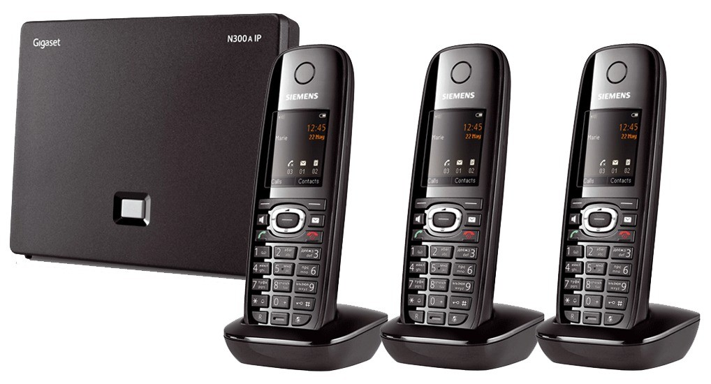Siemens Gigaset N300A IP DECT Base With Answering Machine And C610H Additional Handset - Triple Pack