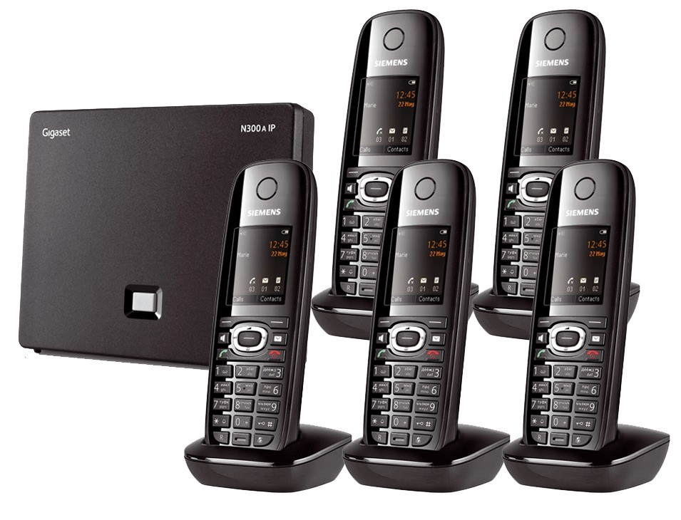 Siemens Gigaset N300A IP DECT Base With Answering Machine And C610H Additional Handset - Quint Pack