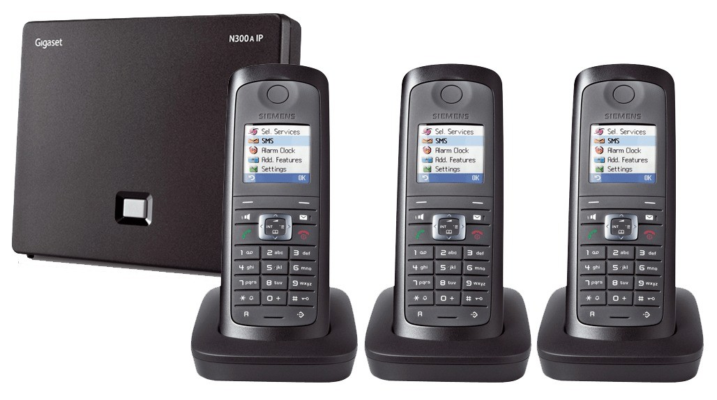 Siemens Gigaset N300A IP DECT Base With Answering Machine And E49H Additional Handset - Triple Pack