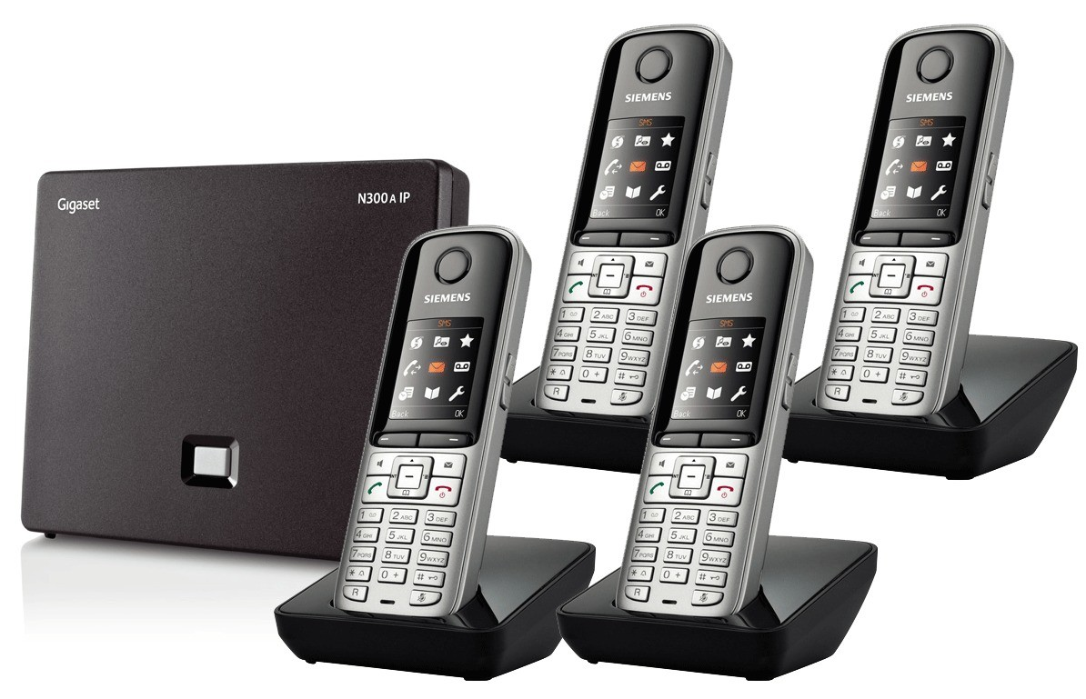 Siemens Gigaset N300A IP DECT Base With Answering Machine And S810H Additional Handsets - Quad Pack