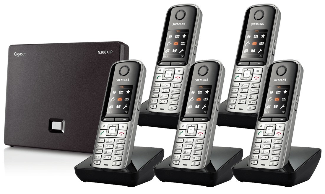 Siemens Gigaset N300A IP DECT Base With Answering Machine And S810H Additional Handsets - Quint Pack