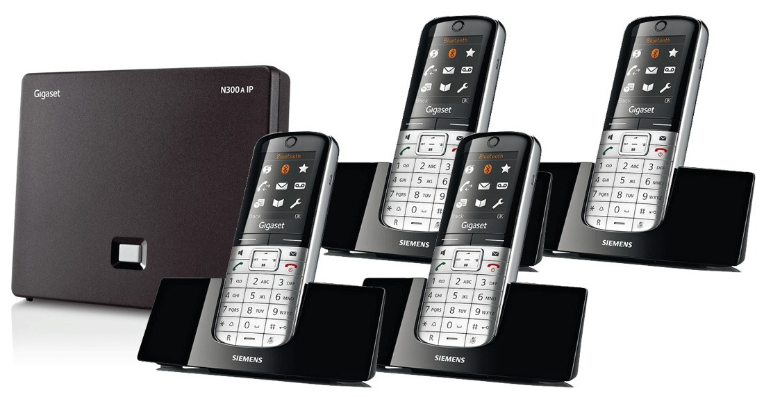 Siemens Gigaset N300A IP DECT Base With Answering Machine And SL400H Additional Handsets - Quad Pack