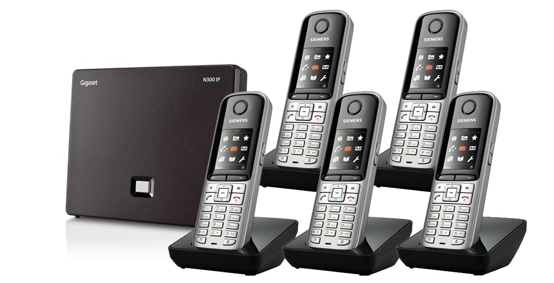 Siemens Gigaset N300IP DECT Base And S810H Additional Handsets - Quint Pack